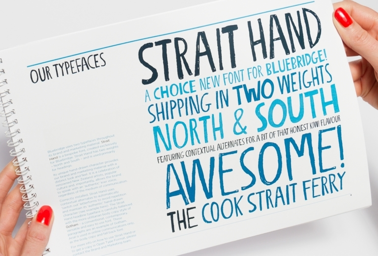 Page of the Bluebridge brand handbook showing the use of the Strait Hand typeface