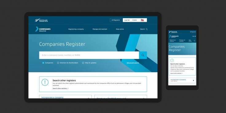 Screenshots of the Companies Register website homepage on desktop and mobile devices
