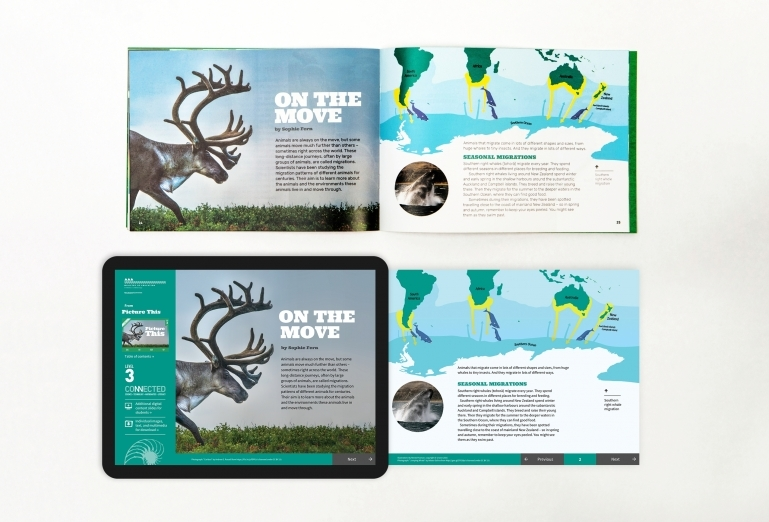 A spread from Connected in the book and the digital version