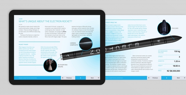 Digital spread from an article about the Electron rocket
