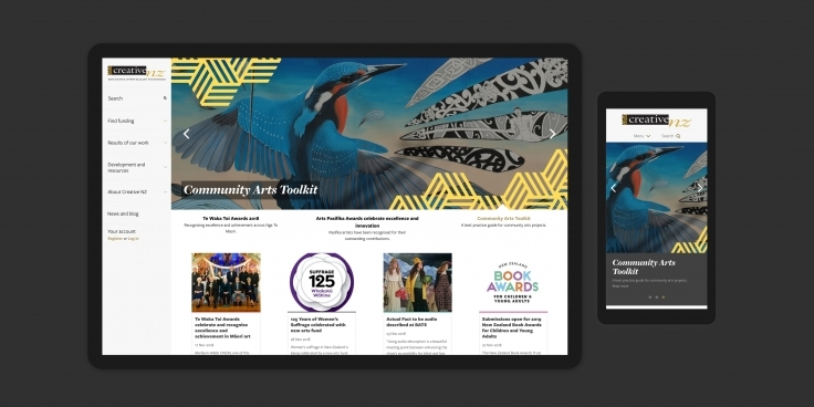 Screenshots of the Creative New Zealand website homepage on desktop and mobile devices