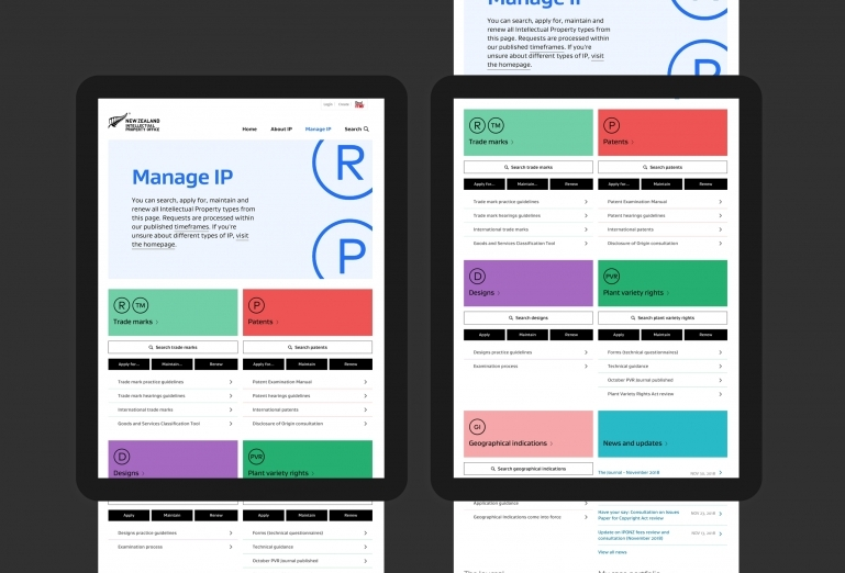 Screenshots of the Manage IP section of the site that has a dashboard style design