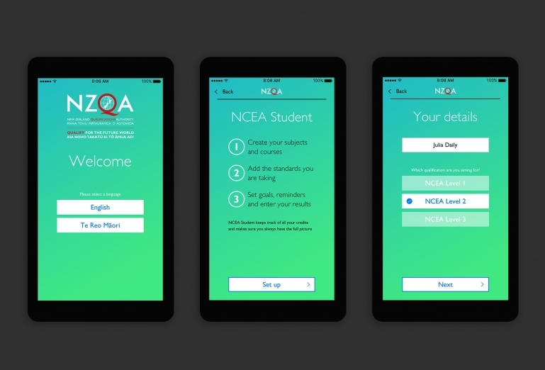 Screenshots of the onboarding steps for the app