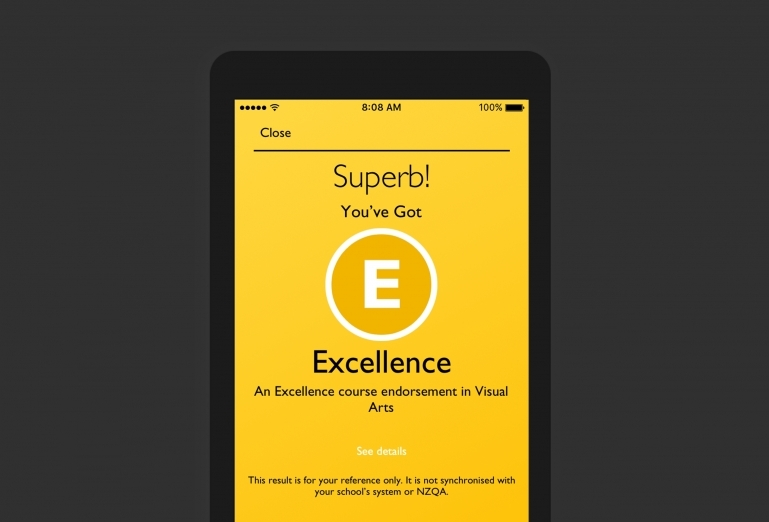 Screenshot of the success screen for an excellence result