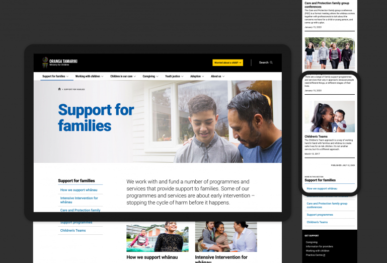 Oranga Tamariki support for families webpage shown on desktop and mobile screens.
