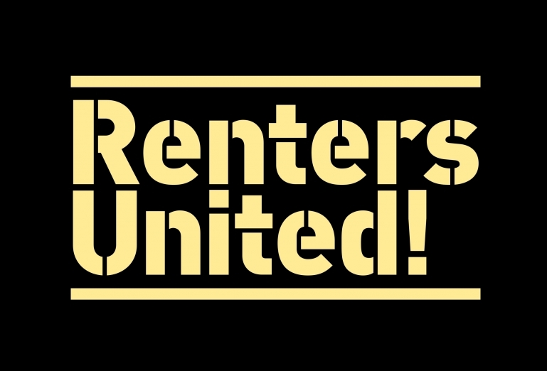 The Renters United logo in yellow on a black background