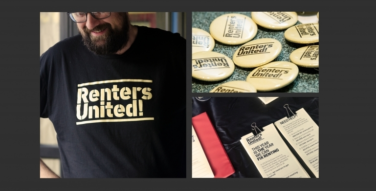 Examples of Renters United merchandise: t-shirts, badges and leaflets