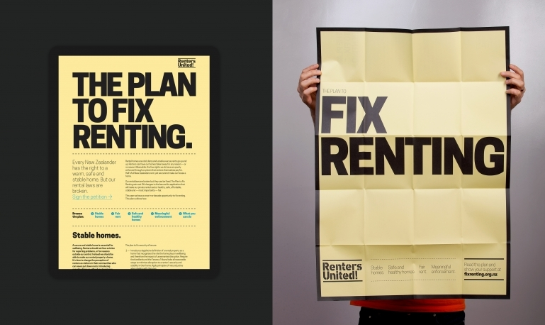 Screenshot of the the Plan to Fix Renting and the poster on the reverse of the Plan.