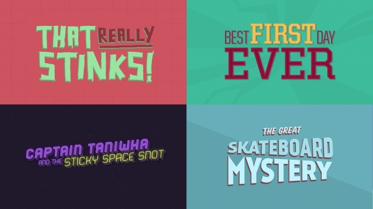 Stills of title cards from four of the videos