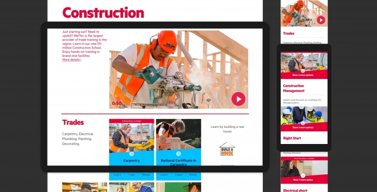 Screenshots of the construction subject page