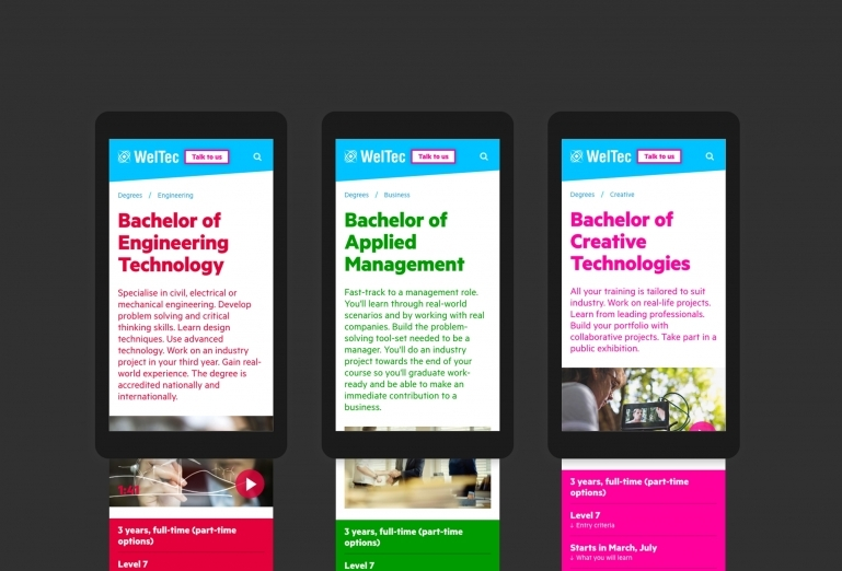 Screenshots of the different colour themes that can be applied to subjects and courses