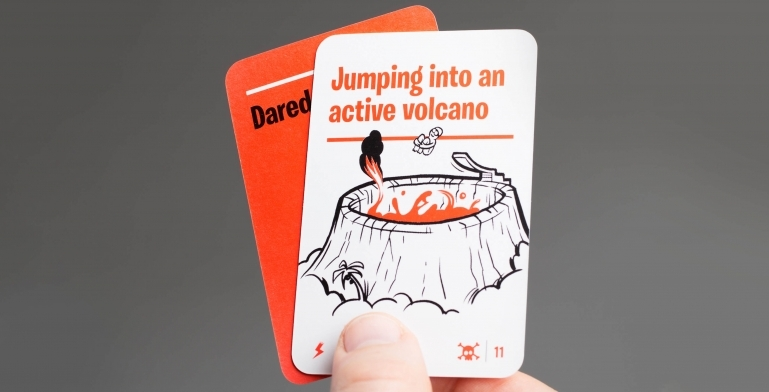 Example of an Idea Card: Jumping into an active volcano