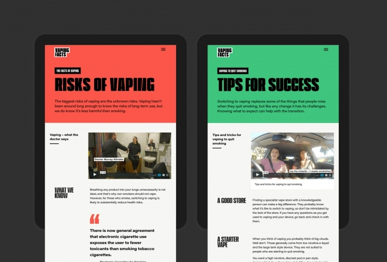 Website pages that explain the risks of vaping and tips for using vaping to successfully quit smoking.